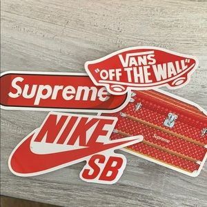 Other - Supreme, Nike and vans stickers.